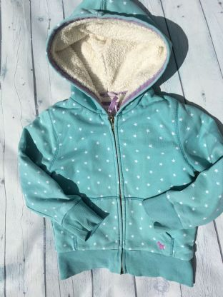 Mini Boden zip up sherpa lined turquoise hoodie age 6-7
